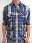 PENNYSTOCK check shirt, blue/grey, $89