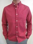 WEATHERED cotton poplin shirt, maroon, $99