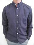 WEATHERED cotton poplin shirt, navy, $99