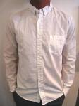 WEATHERED cotton poplin shirt, white, $99
