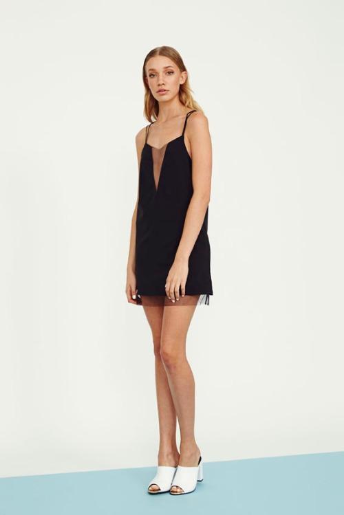 72 UT1405551 mesh panel slip dress in black
